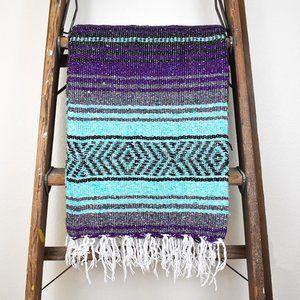 Boho Mexican Blanket Purple Surf + Aqua & Grey